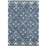 Dash and Albert Rugs Kota Geometric Handmade Kilim Blue/White Area Rug Polyester/Cotton/Wool in Blue/Brown/White, Size 120.0 H x 96.0 W x 0.25 D in