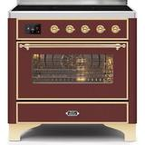 """ILVE Majestic II Series 36"""" 3.5 cu. ft. Freestanding Electric Range in Red/Yellow, Size 36.63 H x 35.88 W x 27.56 D in 