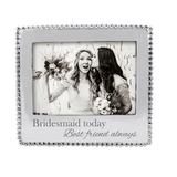 Mariposa Bridesmaid Today Best Friend Always Beaded Picture Frame Metal in Gray, Size 4.0 H x 7.0 W x 0.5 D in   Wayfair 3911BM