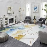 Hashtag Home Ariya Abstract Tufted Cream/Blue Area Rug Polyester in Blue/Brown/White, Size 120.0 H x 120.0 W x 0.32 D in   Wayfair