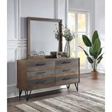 Union Rustic Amedeo 6 Drawer Double Dresser w/ Mirror Wood in Brown/Gray, Size 35.0 H x 63.0 W x 17.75 D in | Wayfair
