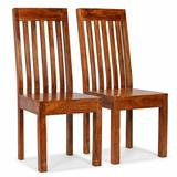 East Urban Home Nichols Hills Solid Wood Slat Back Side Chair in Wood in Brown, Size 40.94 H x 16.93 W x 16.93 D in | Wayfair