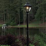 "Canora Grey Aliesha Black 1 -Light 87"" H Solar Powered Lamp Post Aluminium/Metal in Black/Gray, Size 87.0 H x 11.0 W x 11.0 D in   Wayfair"
