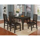 Gracie Oaks Zareen 7 - Piece Dining Set Wood/Upholstered Chairs in Gray, Size 30.5 H x 60.0 W x 33.5 D in | Wayfair