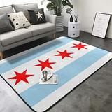 """KasaBlaro Flag of Chicago Print Area Rug Carpet Contemporary Rugs Living Room Dining Area Rugs Room Rugs Office Rugs Modern Rug 80"""" X 58"""""""