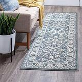 Shiloh Gray 2x10 Runner Area Rug for Hallway, Walkway, Entryway, or Foyer - Traditional, Floral