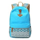 Geometry Dot Casual Canvas Laptop bag,Cute Fashion Lightweight School Bookbag Bag for Young Student,Canvas School Bag Backpacks for Teen Girls Boys (Blue)