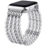 VIQIV Pearl Cuff Bracelets for Compatible with Apple Watch Band 40mm 44mm Iwatch Series 5, Series 4, Series 6, Beaded Stretch Jewelry Bangle Dressy Metal Wristbands Strap for Women Girls Silver