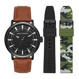 Skechers Men's Sets Quartz Leather and Silicone Watch Band Gift Set , Color: Black, Camo/Black Bands (Model: SR9030)