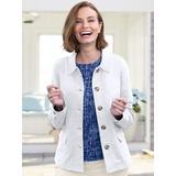 Women's Petite Anywhere Cotton Stretch Twill Jacket, White P-S