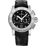 Corum Romulus Men Stainless Steel Automatic Chronograph Watch - 43mm Black Face with Luminous Hands, Date and Sapphire Crystal - Black Leather Strap Swiss Made Classic Mens Watch R984/03549