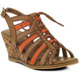 Quinne Wedge Sandals - Brown - Spring Step Heels
