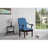Divano Roma Furniture Traditional Tufted Linen Fabric Upholstered Accent Dining Chair (Blue)