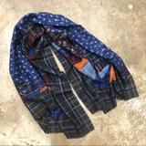 Anthropologie Accessories   Abstract Print Shawl Scarf Dotted Metallic Threads   Color: Blue   Size: Os