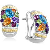 Multi-stone Omega Earrings (4-9/10 Ct. T.w.) In 18k Gold And Sterling Silver - Metallic - Effy Earrings