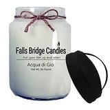 Falls Bridge Candles Acqua di Gio Scented Jar Candle, 26-Ounce, with Handle Lid