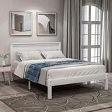 Wood Platform Bed with Headboard, Wood Slat, Platform Bed and Headboard, Platform Bed Slats Twin Ship from America Local Warehouse, Arrive at Your Hands Within 5 Days (White)