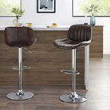 Volans Mid Century Modern Faux Leather Swivel Adjustable Height Bar Stools Set of 2, Counter Height Pub Chair with Back, Chrome Base, Brownness