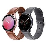 Mtozon Leather Bands Compatible with Samsung Galaxy Watch 3/ Active/Active 2 / Galaxy Watch 42mm / Gear Sport, 20mm Classic Genuine Leather Quick Release Replacement Straps Women Men, Brown + Gray