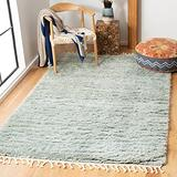 Safavieh Casablanca Shag Collection CSB150B Hand-Knotted Tassel Premium New Zealand Wool 1.8-inch Thick Area Rug, 4' x 6', Blue