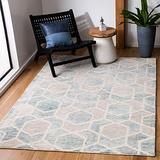 Safavieh Precious Collection PRE217K Handmade Boho Geometric Wool Area Rug, 6' x 6' Square, Turquoise