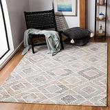 Safavieh Precious Collection PRE219M Handmade Boho Geometric Wool Area Rug, 6' x 6' Square, Blue / Beige