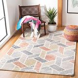 Safavieh Precious Collection PRE221M Handmade Boho Geometric Wool Area Rug, 6' x 6' Square, Blue / Rust