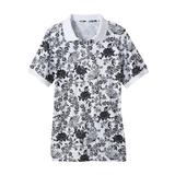 Haband Womens Essential Polo Tee, Solid & Print, White Floral, Size 3XL, 3X