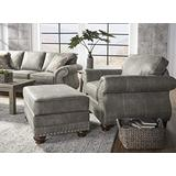 Roundhill Furniture Leinster Faux Leather Upholstered Nailhead Chair and Ottoman, Gray