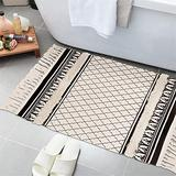 Ailsan Tufted Moroccan Cotton Area Rug 2'x 3,Hand Chic Woven Fringe Throw Rugs Printed Tassel Rugs Carpet Modern Geometric Welcome Door Mat Machine Washable Floor Runner Rug for Porch Kitchen Bathroom