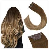Ugeat Clip in Hair Extensions Natural Hair 14 Inch Remy Hair Extensions Clip in Human Hair Balayage Brown to Blonde #6/8/14 Clip in Real Human Hair Extensions 7PCS Remy Human Hair Extensions Clip in