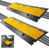 """Pyle Durable Cable Protective Ramp Cover - Supports 33000lbs 4-Channel Heavy-Duty Cord Protection w/Flip-Open Top Cover, 31.5"""" x 16.1"""" x 3.14"""" Cable Concealer for Indoor/Outdoor, 2 Pack PCBLCO106X2"""