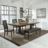Liberty Furniture Industries Harvest Home 6 Piece Trestle Table Set, W42 x D104 x H30, Black/Brown