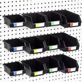 Right Arrange Pegboard Bins - 3 Sizes, Set of 12 - Hooks to Any Peg Board - Organize Hardware, Accessories, Attachments, Workbench, Garage Storage, Craft Room, Tool Shed, Hobby Supplies, Small Parts