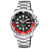 PRO SEA Diver 1000M Bracelet Black/RED Bezel - Black DIAL 20/30/40/50 RED Minute Hand