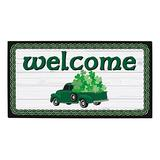 St Patricks Day Decor Clover Truck Welcome Mat Decor for St. Patrick's Day Doormat Simulated Shiplap