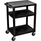 """Luxor 34"""" A/V Cart with 3 Shelves (Black Shelves, Black Legs) WT34"""