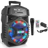 Portable Bluetooth PA Speaker System - 1000W Outdoor Bluetooth Speaker Portable PA System w/Microphone in, Party Lights, USB SD Card Reader, FM Radio, Wheels - Mic, Remote Control - Pyle PPHP1264A