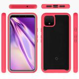 Clear Back Shockproof Case, Red/Clear For Pixel 4