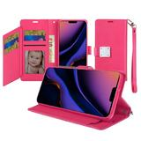 Vegan Leather Phone Wallet Case with Extra Card Flap and Wristlet, Hot Pink For iPhone 11