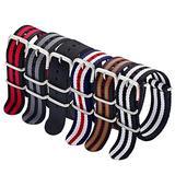 Military Nylon Strap 6 Packs 20mm Watch Band Nylon Replacement Watch Straps for Men Women (Black+Black/Red+Black/Red/Green+Blue/White/Red+Black/Grey+Black/White