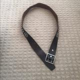 American Eagle Outfitters Accessories | American Eagle Brown Leather Belt W Silver Metal | Color: Brown/Silver | Size: M