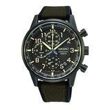 Seiko Men's Chronograph Watch with Canvas Strap SSB371P1