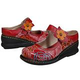 CrazycatZ Wedges Mary Jane Shoes, Women's Colorful Flower Vintage Slip-on Leather Shoes Platform Mary Jane Shoes (RED, Numeric_10)
