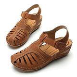 Camfosy Womens Summer Sandals, Wedge Sandals for Women Mules Clogs with Ankle Strap Flat Summer Shoes Wide Width Casual Strappy Sandal Lightweight Beach Flip Flops Brown 10