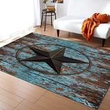 Large Area Rugs 5' x 8' Throw Carpet Floor Cover Nursery Rugs For Children/Kids, Western Tes Star Wooden Rustic Distress Country Board Modern Kitchen Mat Runner Rugs For Living Room/Bedroom