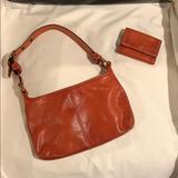 Coach Bags | Authentic Leather Coach Bag With Matching Wallet | Color: Red | Size: 11 X 7 Bag. 4.5 X 3.5 Wallet