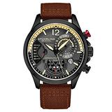Stuhrling Original Mens Dress Watch - Aviator Watch with Leather Band Watches for Men with Date 24 Hour Subdial Chronograph Sports Watch (Brwon)