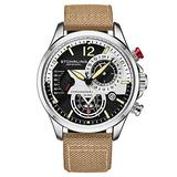 Stuhrling Original Mens Dress Watch - Aviator Watch with Leather Band Watches for Men with Date 24 Hour Subdial Chronograph Sports Watch (Beige)