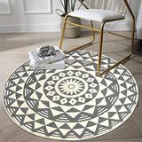 Mandala Round Area Rug 3' Diameter, KIMODE Vintage Soft Faux Wool Area Rug Accent Distressed Collection Non-Slip Machine Washable Indoor Throw Rugs Floor Carpet for Bedrooms Living Room Laundry Room
